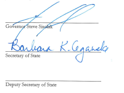Signatures of Governor Sisolak and Cegavske Only