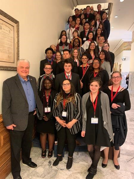 Nevada JAG students at the Nevada State Capitol, March 20, 2019 with Governor Sisolak