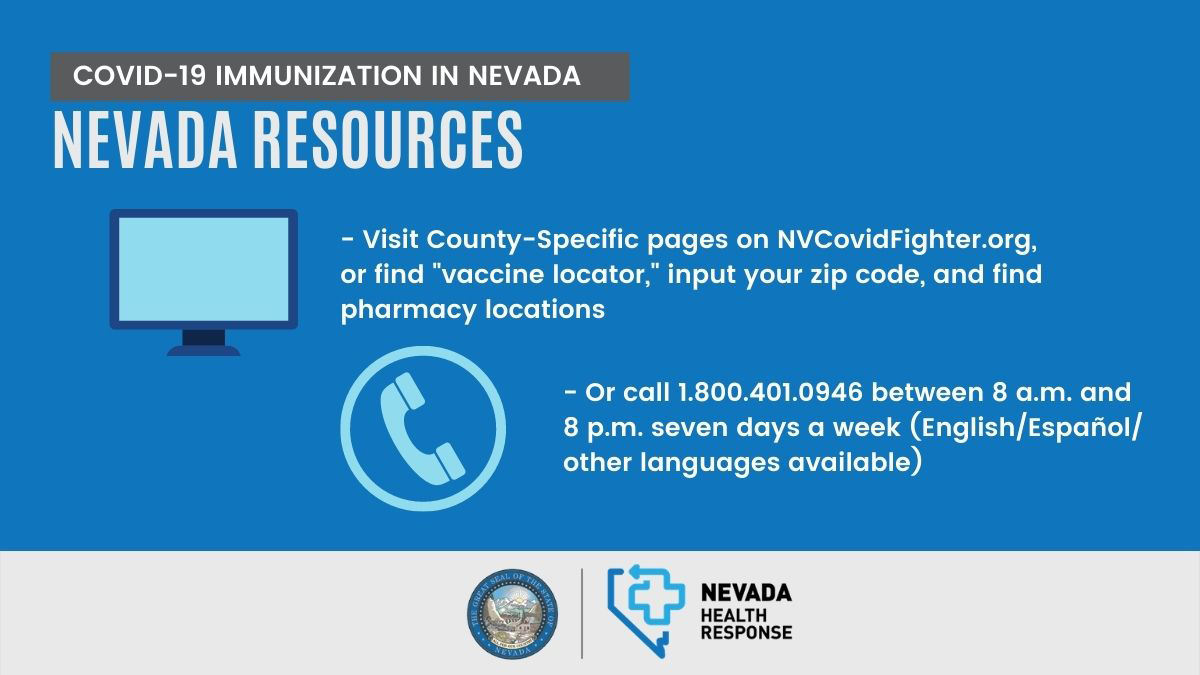 Visit County-Specific pages on NVCovidFighter.org or call 1-800-401-0946 beteeen 8am and 8pm 7 days a week (English/Espanol/other languages available)