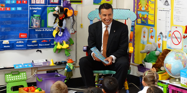 The Governor reads at Seelinger Elementary in Carson City.