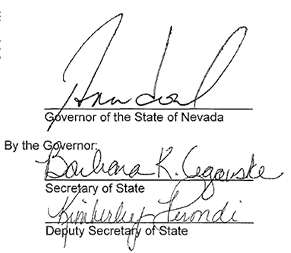 Signatures of Governor Brian Sandoval, Barbara Cegaske and Kimberly Perondi