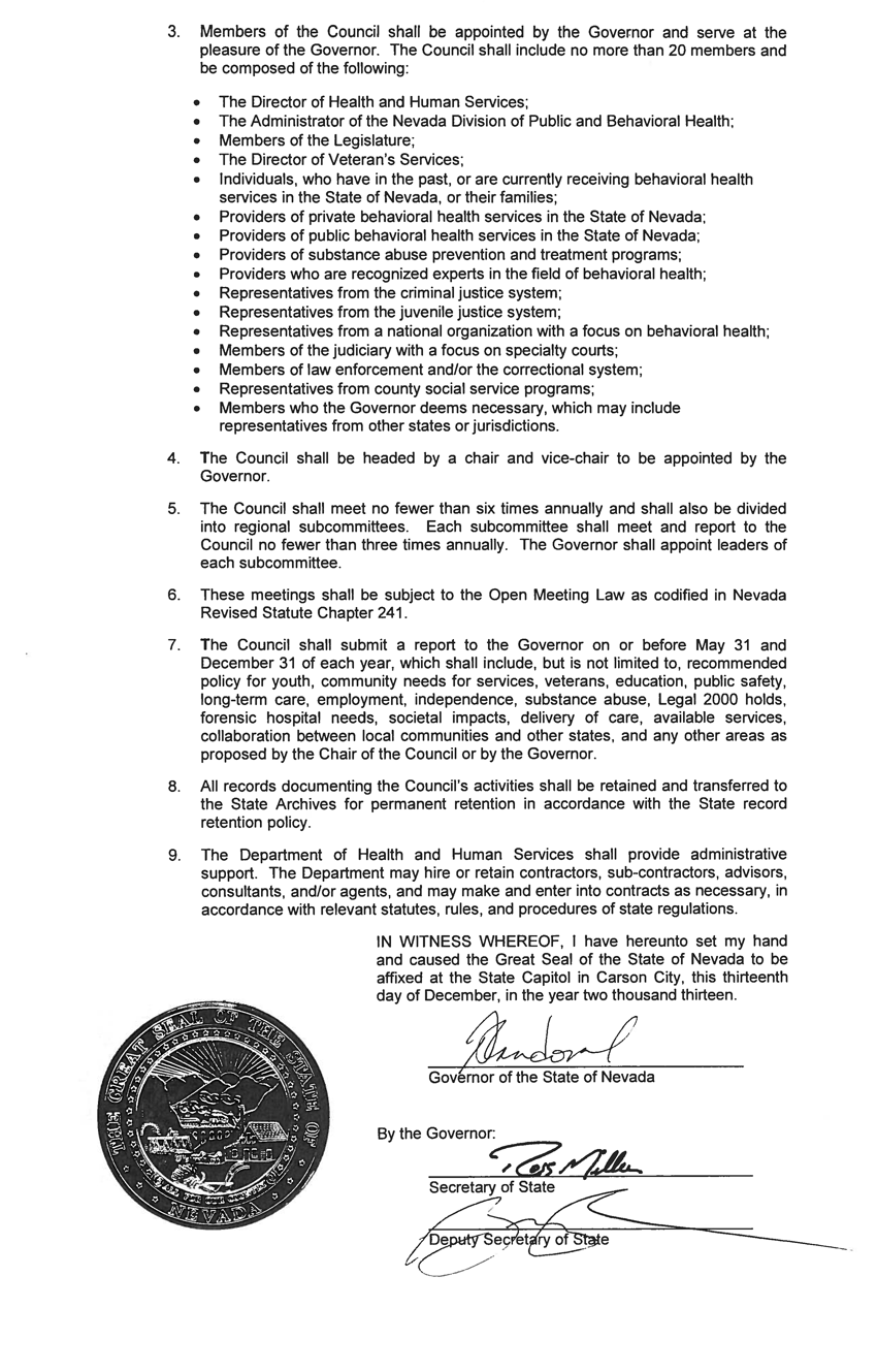 EO# 2013-26 Establishing teh Governor's Behavioral Health and Wellness Council Pg2