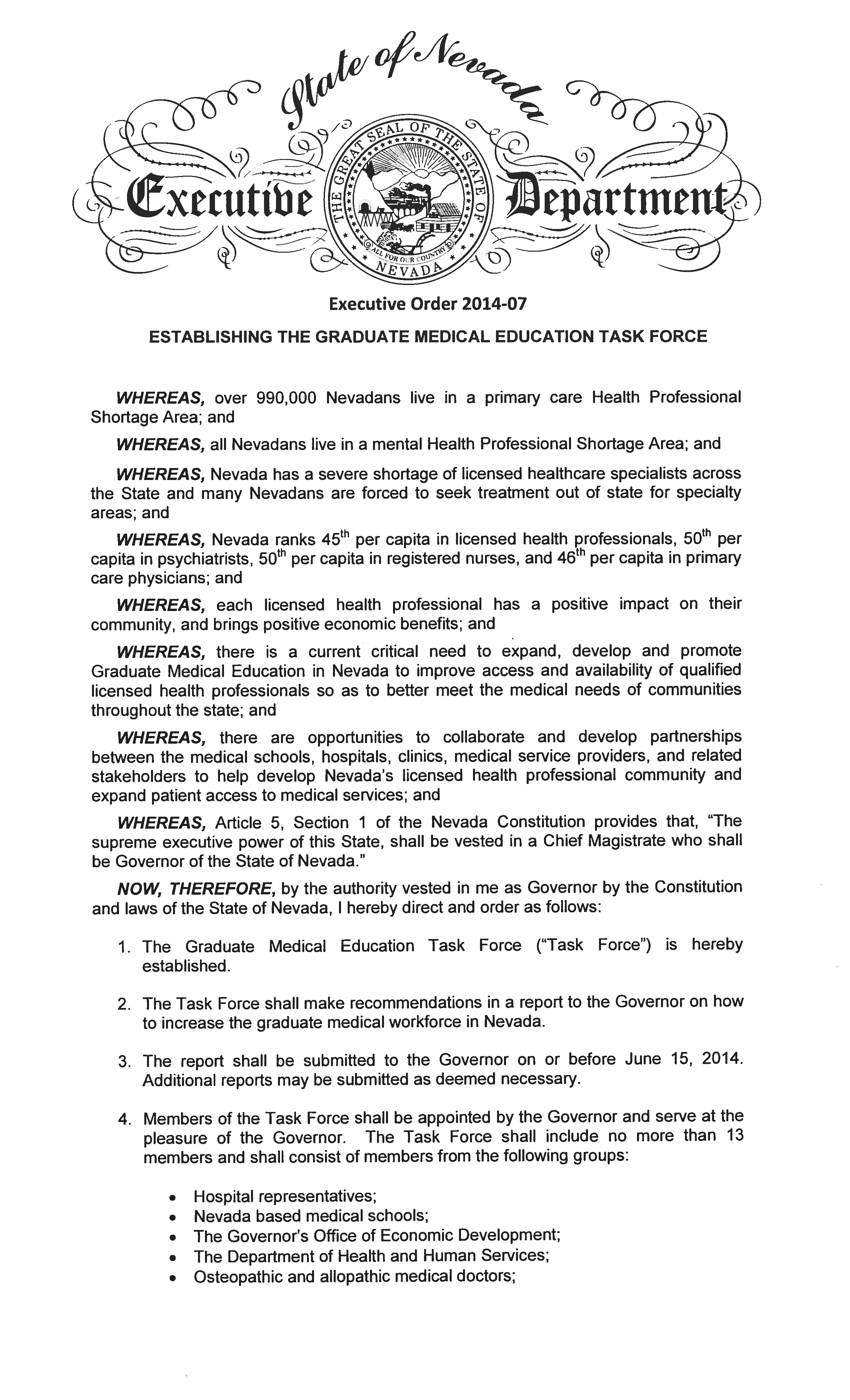 EO# 2014-07 Establishing the Graduate Medical Education Task Force Page 1