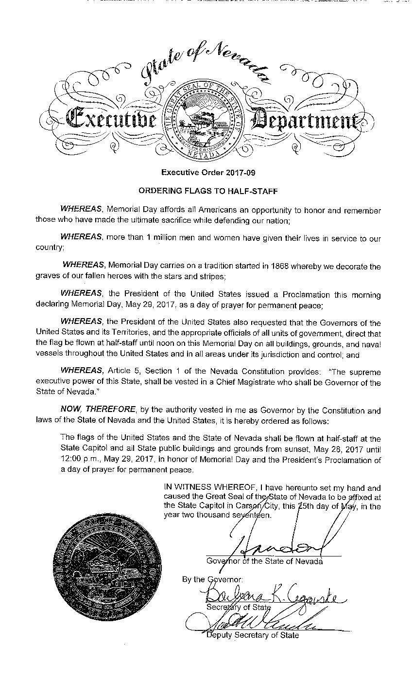 EO# 2017-09 Ordering Flags to Half Staff in Honor of Memorial Day
