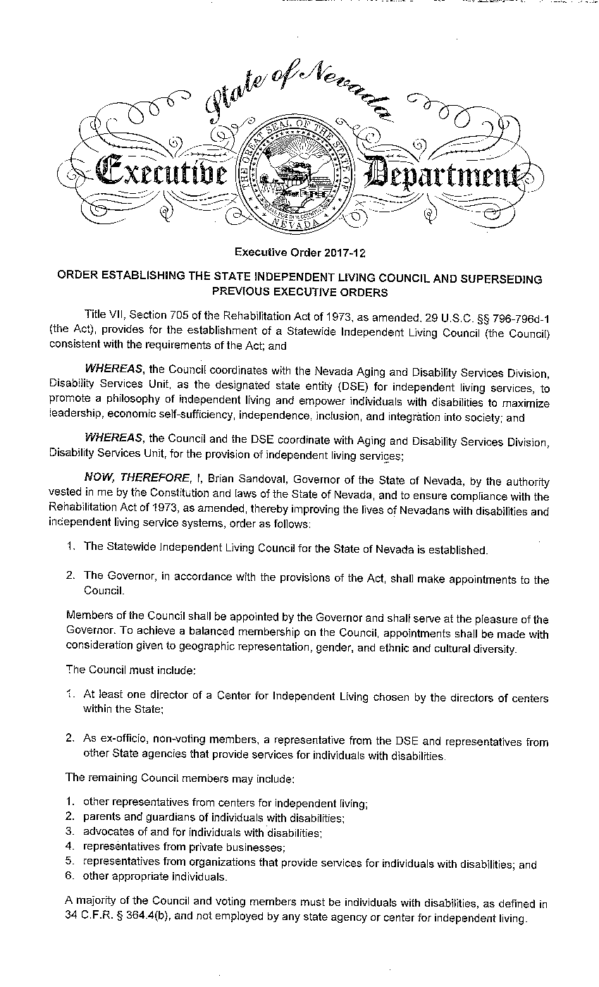EO# 2017-12 Order Establishing the State Independent Living Council and Superseding Previous Executive Orders (Page 1)