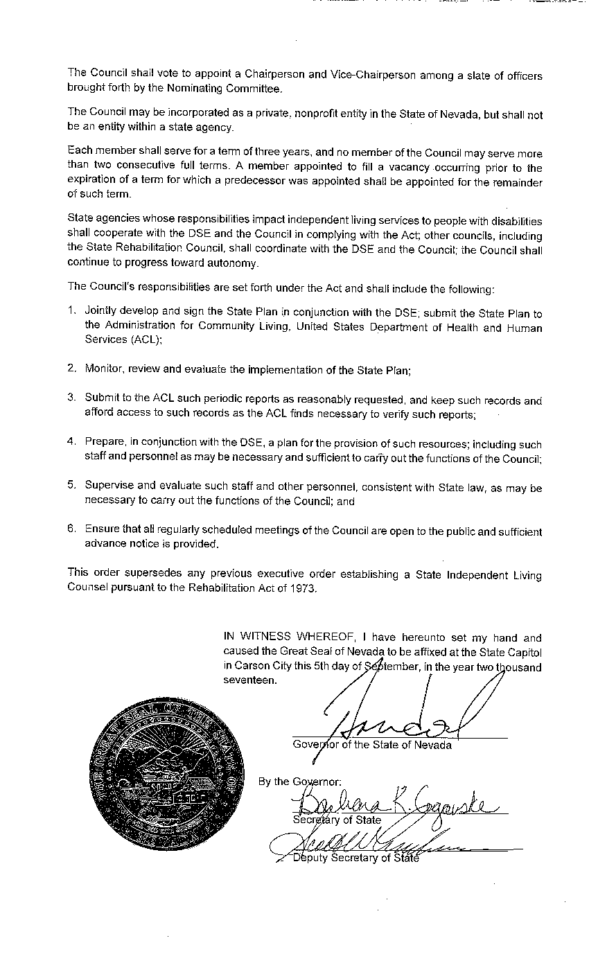 EO# 2017-12 Order Establishing the State Independent Living Council and Superseding Previous Executive Orders (Page 2)