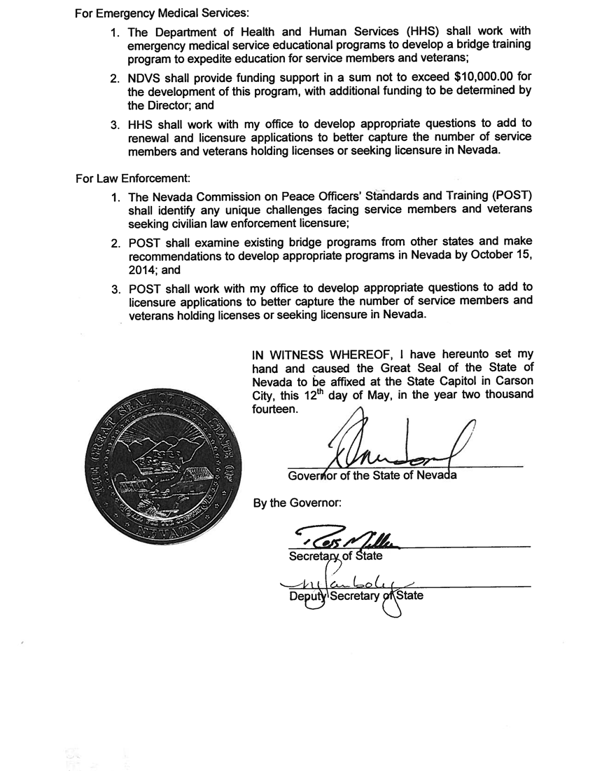 EO# 2014-11 Providing Reciprocity for Military Members Veterans Seeking Licensure page2