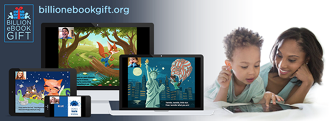 Billion eBook Gift graphic depicting a woman and child with a tablet