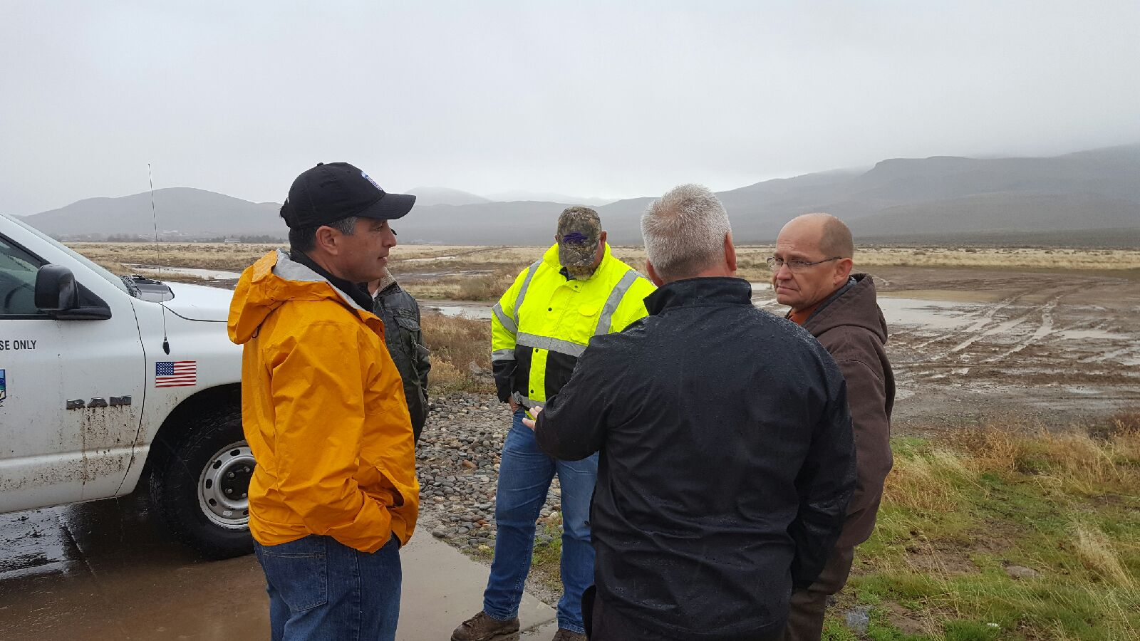 Governor Sandoval, Commissioner Ken Gray, Lyon County Manager Jeff Page, and State Water Engineer Jason King at South Dayton Retention Pond