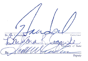 Signatures of Governor Brian Sandoval, Barbara Cegaske and Scott Anderson