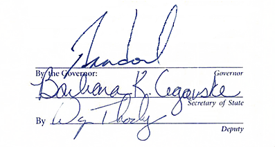 Signatures of Governor Brian Sandoval, Barbara Cegaske and Wayne Thorley