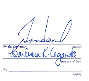 Signatures of Governor Brian Sandoval & Barbara Cegaske