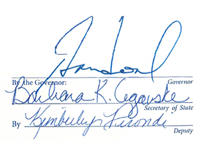 Signatures of Governor Sandoval, Barbara K. Cegasvske and Kimberly Perondi
