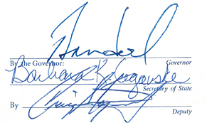 Signatures of Governor Sandoval, Barbara Cegavske and Craig Kozeniesky