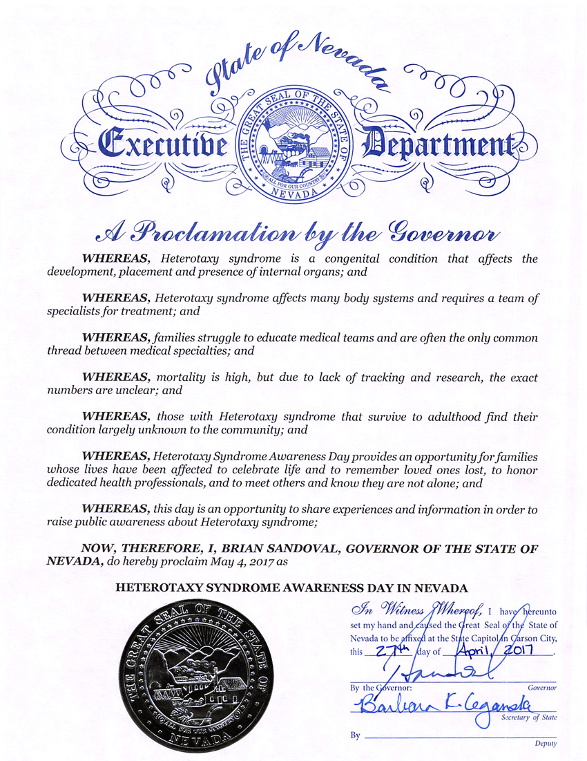 Heterotaxy Syndrome Awareness Day in Nevada