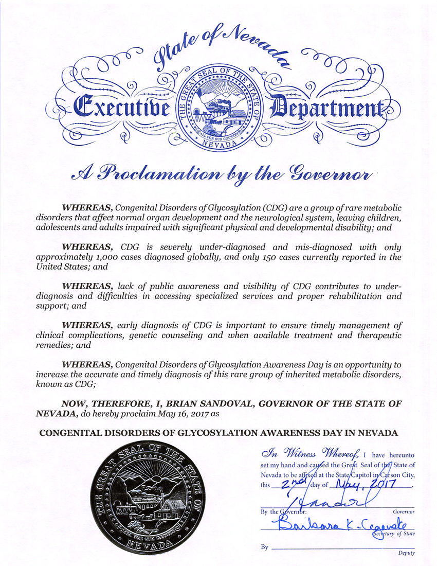 Congenital Disorders of Glycosylation Awareness Day in Nevada