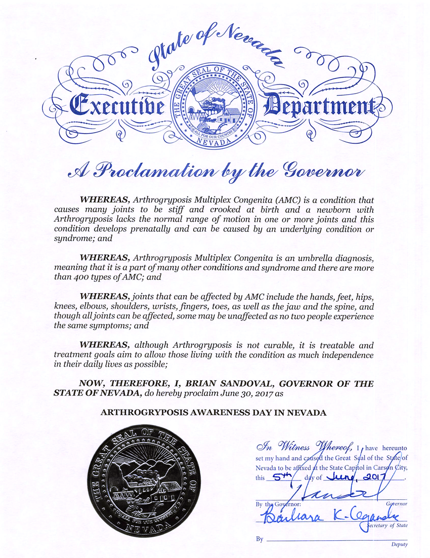 Arthrogryposis Awareness Day in Nevada