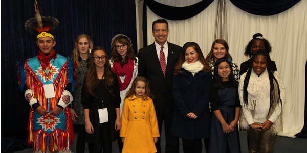 Governor Sandoval with children